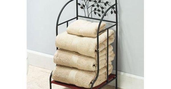Amazon Com Metal Tree Accented Bathroom Towel Stacker
