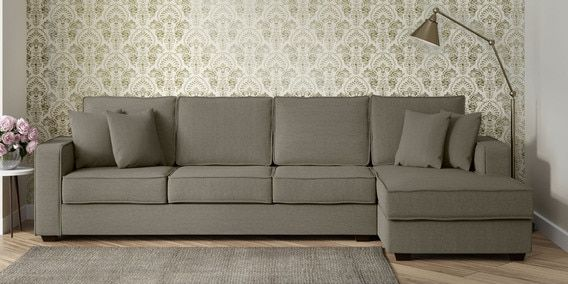 Hugo Lhs Three Seater Sofa With Lounger And Cushions In Sandy Brown Colour L Shaped Sofa Corner Sofa Set Sofa Set Online