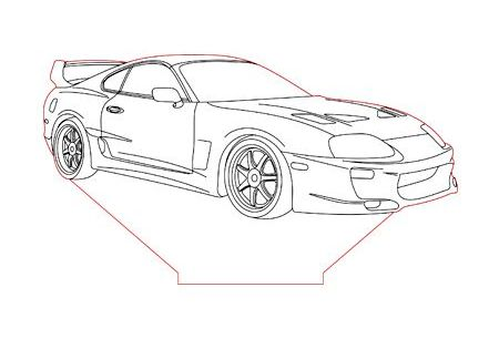 Toyota Supra 3d Illusion Lamp Plan Vector File For Laser And Cnc 3bee Studio 3d Illusion Lamp 3d Illusions Illusions
