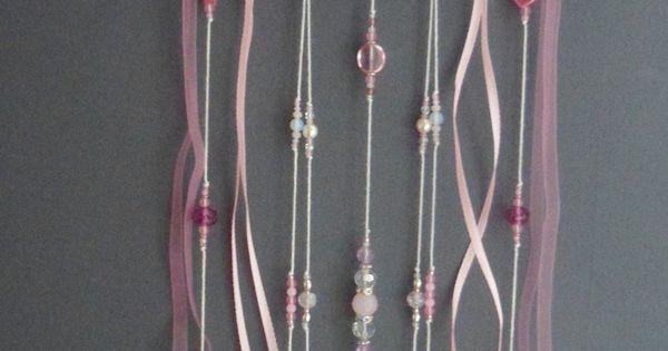 attrape r ves rose poudr dreamcatcher plumes perles et ficelle d coration et roses. Black Bedroom Furniture Sets. Home Design Ideas