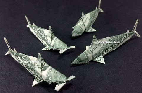 Money origami sharks koi fish fish hammerhead sharks for Dollar bill origami fish
