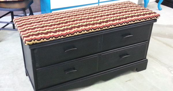 padded bench chest made from a repurposed chest of drawers