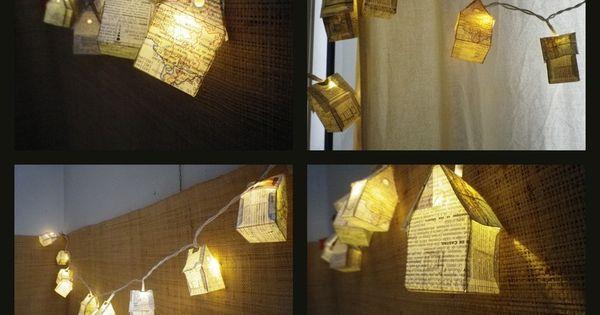 guirlande lumineuse compos e de 10 led habill e de petites maisons en papier dans le m me esprit. Black Bedroom Furniture Sets. Home Design Ideas