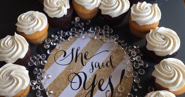 She Said Yes engagement party wedding cupcake cake - Made ...