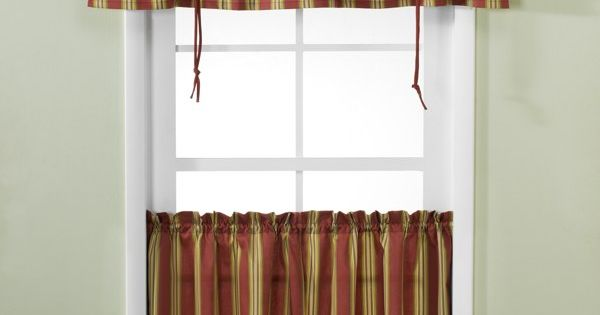 Versa Tie Lisa Stripe Window Curtain Tiers And Valance Bed Bath Beyond For The Home