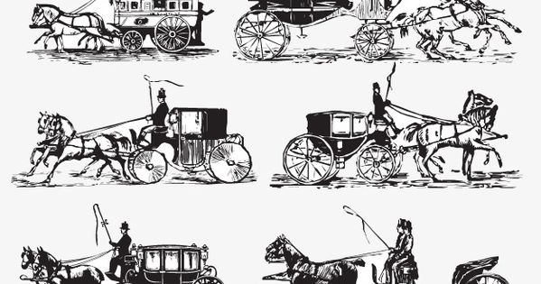 Hand Painted Black And White Carriage Europe Medieval Vector Carriage Vector Medieval Painting Black And White