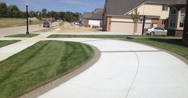 driveway with exposed aggregate border