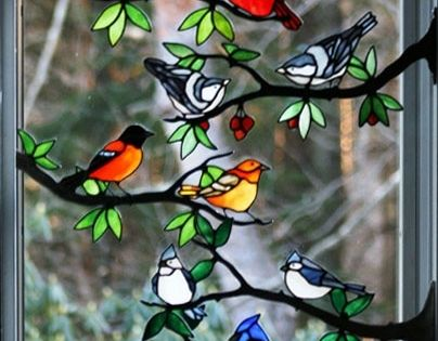 Stained Glass Birds For Inspiration Cardinal Black