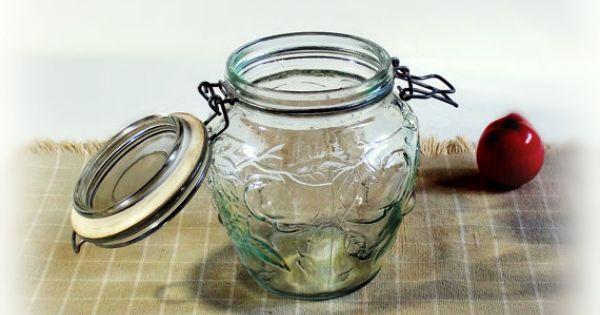 Vintage canning jar large decorative tint green glass jelly jar raised embossed fruit pattern - Decorative fruit jars ...