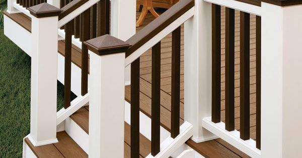 I Like The Two Tone Railing Backyard Deck Pinterest