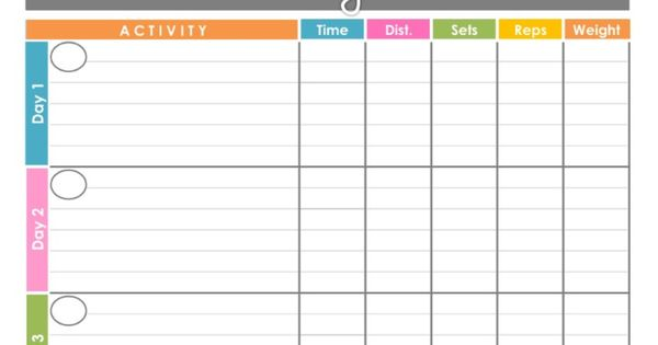 Workout Log Exercise Log Printable for by ...