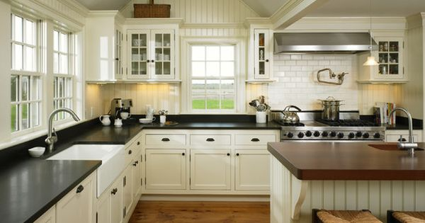 Farmhouse style kitchens with white cabinets google for Black beadboard kitchen cabinets