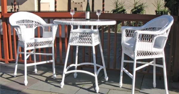 Outdoor Wicker Bar Set Cape Cod White Wicker Furniture