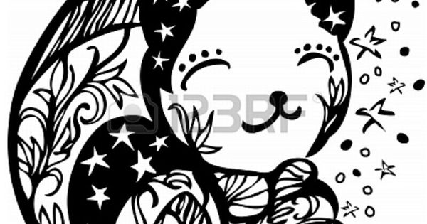Sleeping Moon Cat Template/ Stencil. Great For A Mural In