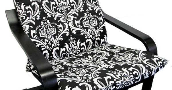 Slipcover for ikea poang chair in black white damask for Black and white damask chaise lounge