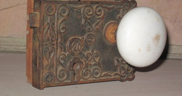 Old Antique White Porcelain Door Knob Handle Set Plate
