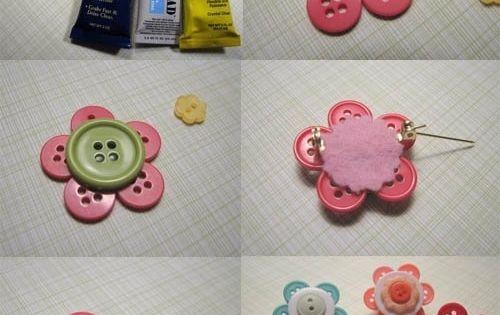Flores con botones manualidades para ni os pinterest - Manualidades de botones ...