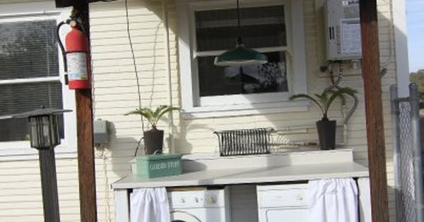 Outdoor Laundry Room Build Cabinet Around Washer Dryer Curtain To Hide Them Use As A Potting