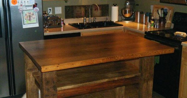 Bar Height Barn Wood Kitchen Island With Overhang And Foot