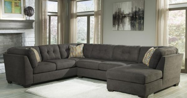 Ashley Benchcraft Delta City Steel 3 Piece Modular Sectional With Right Chaise Sectionals