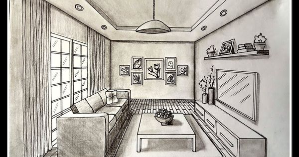 Diy Living Room Drawing A Living Room In One Point Perspective Time Lapse Perspective Room One Point Perspective Room Room Perspective Drawing