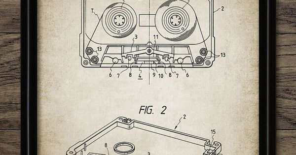 Vintage Audio Cassette Patent Print Music Wall by