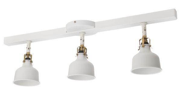 IKEA RANARP Ceiling track, 3 spotlights white off white