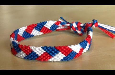 bracelet br silien facile motif tresse tutoriel en vid o bleu blanc rouge bracelet br silien. Black Bedroom Furniture Sets. Home Design Ideas