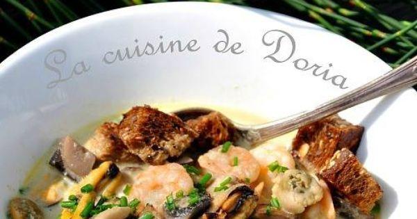 fruits de mer et champignons sauce velout la cuisine de doria cuisine fruits de mer et. Black Bedroom Furniture Sets. Home Design Ideas