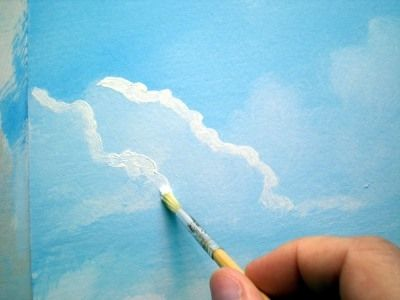 Painting Lesson For Beginner Artists Landscape With Acrylics For Beginners Step 5 The Clouds Painting Lessons Acrylic Painting Lessons Painting Tips