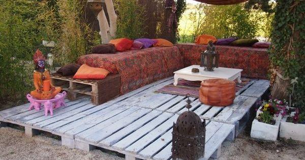 Ideen für Palettenmöbel orientalisch europaletten terrasse