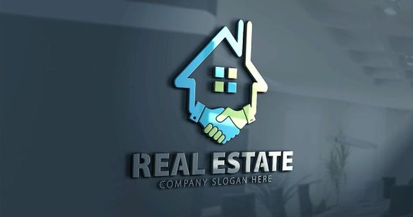 Real Estate Logo – House and handshake icon