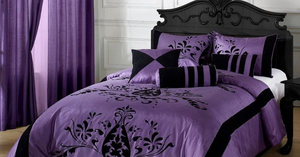 7 Pc Comforter Set Purple Amp Black King Size With Matching