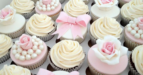 Vintage Pale Pink Wedding Cupcakes by Heavenly-Cupcakes, bridesmaids luncheon