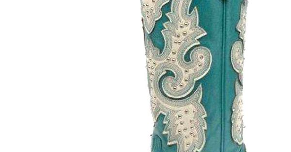 Corral Turquoise Cream Wing Tip Cowgirl Boots
