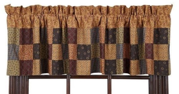 Lewiston Patchwork Lined Valance Primitive Star Quilt Shop Valance Country Style Curtains Patchwork Curtains