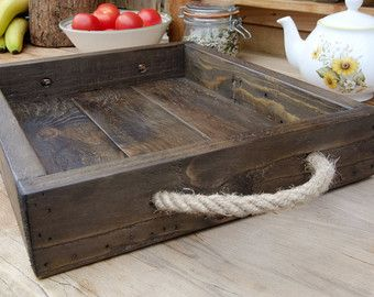 Large Rustic Serving Tray Wooden Tray Made From Reclaimed Pallet Wood Bandejas De Madera Artesanias Rusticas Madera