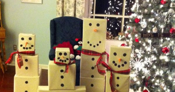A Snowman Gift Tower For The Girls How Fun I Heart