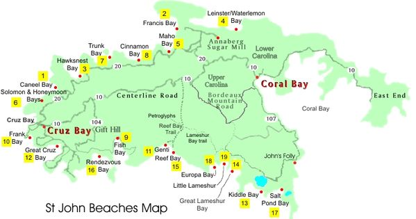Map Of Beaches On St John I Need A Vacation Pinterest