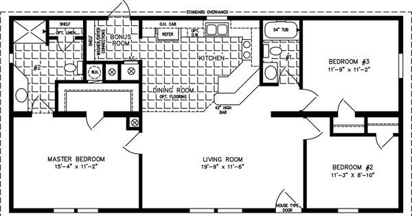 1000 sq ft 3 bedroom floor plans the tnr 44811a for 600 sq ft modular home