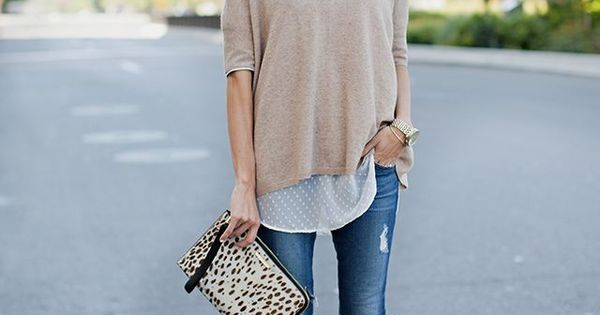 Distressed Skinny Jeans. Nude Heels. Calf Hair Clutch. sure