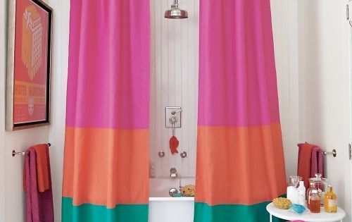 bright, bright bathroom - color block shower curtain