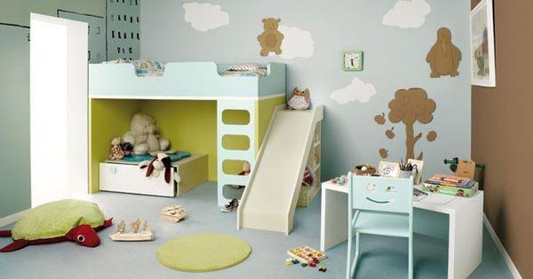 Habitaci n infantil con litera castillo con tobog n - Literas infantiles con tobogan ...