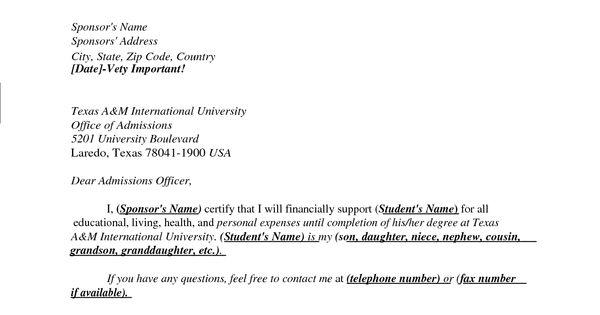 format sponsor letter for visitor visa usa letter and