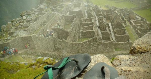 These sandals have quite the view: Maccu Picchu, Peru | See more about Sandals, Peru and The View.