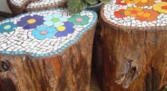 Myo Mosaic Stool Or Side Table Using A Stump Gardening
