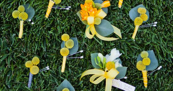 Love these! Craspedia (aka Billy Buttons or Billy Balls) boutonnieres fit perfectly