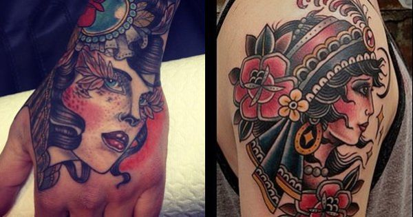 Gypsy tattoos are a true old school tattoo and a perfect for True culture tattoos