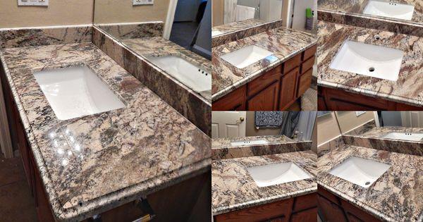 Bathroom Countertop Remodel With Smokey Mountain Granite