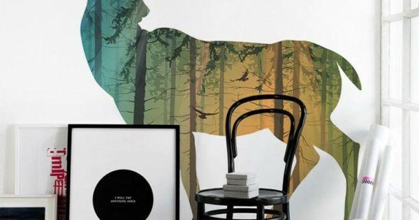 traumhaft wandgestaltung mit farbe wand streichen ideen wald hirsch wohnung pinterest. Black Bedroom Furniture Sets. Home Design Ideas